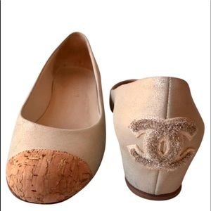 Sueded Shimmer Leather CC hidden wedges pumps